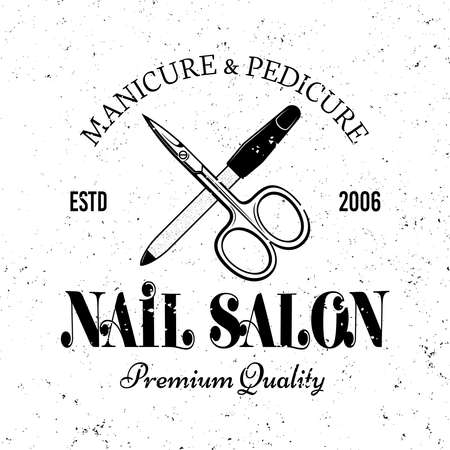 Manicure salon vector monochrome emblem, label, badge  with scissors and nail file isolated on white background