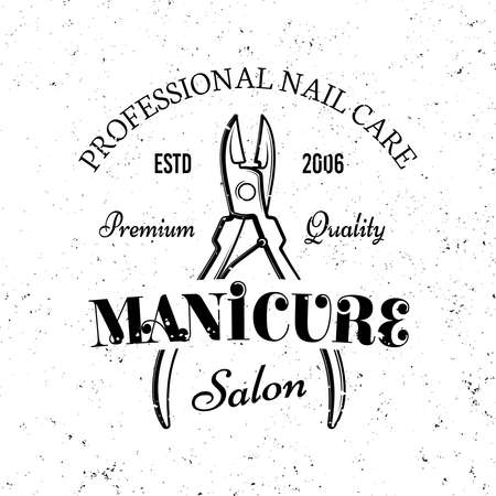 Manicure and pedicure salon vector monochrome emblem, label, badge  isolated on white background