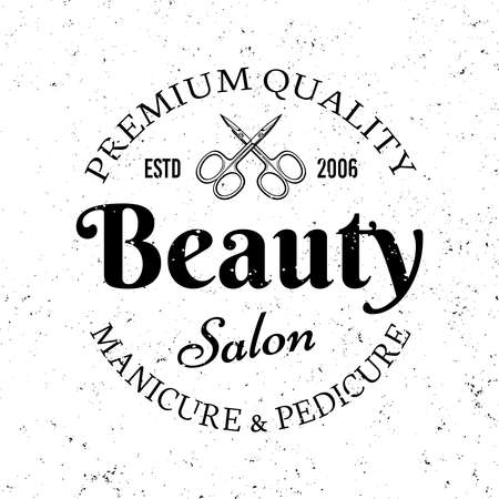 Beauty manicure salon vector monochrome emblem, label, badge  isolated on white background