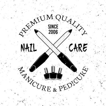 Manicure salon vector monochrome emblem, label, badge  with two crossed nail files isolated on white background