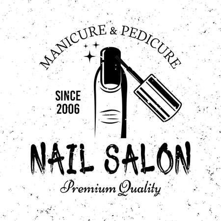 Nail care or manicure salon vector monochrome emblem, label, badge  isolated on white background