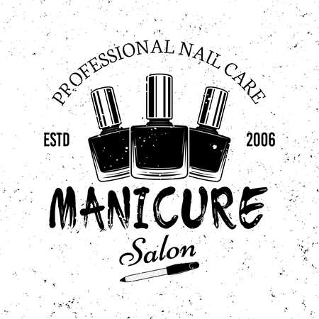 Manicure salon vector monochrome emblem, label, badge   isolated on white background Ilustracja