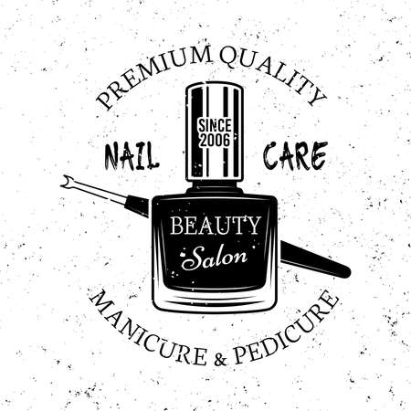 Nail care vector monochrome emblem, label, badge with nail polish isolated on white background Ilustracja