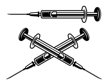 Syringes set vector objects in monochrome style