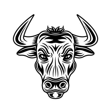 Bull head vector monochrome illustration in vintage style isolated on white background 版權商用圖片 - 161710946