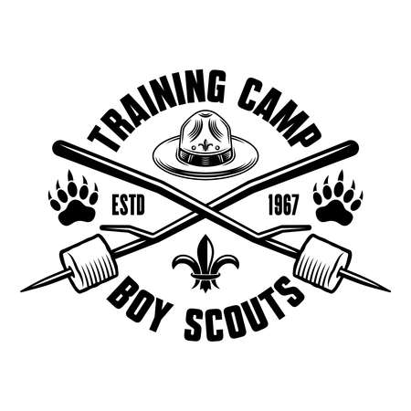 Camping and outdoors black and white emblem, badge, label in vintage style. Boy scout hat and two crossed marshmallow on sticks vector illustration