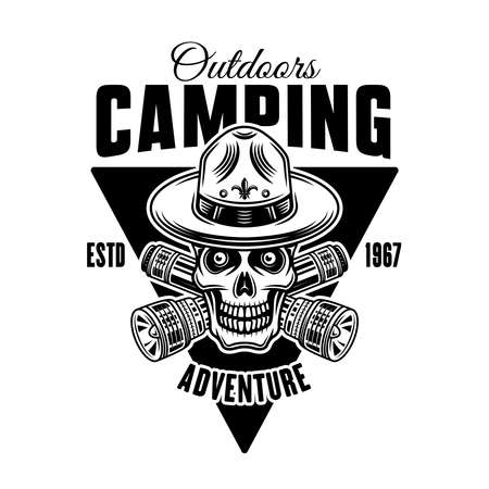 Camping monochrome vector emblem, badge, label in vintage style with boy scout skull in hat and two crossed flashlights 向量圖像