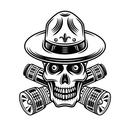 Skull of boy scout with flashlights vector