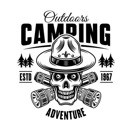 Camping and outdoors black and white emblem, badge, label oin vintage style. Boy scout skull in hat and two crossed flashlights vector illustration