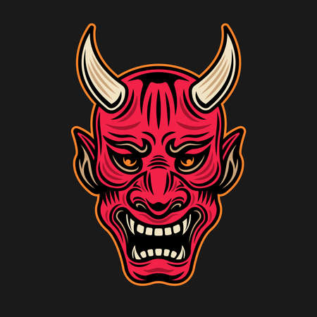 Japanese samurai red mask with horns vector