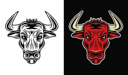 Bull head in two styles monochrome on white and colorful on dark background vector illustration