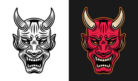 Japanese samurai mask vector in two styles