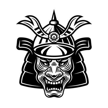 Japanese samurai warrior mask in helmet vector monochrome illustration isolated on white background