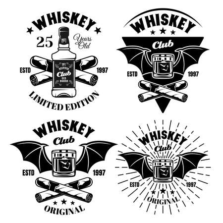 Whiskey set of four vector emblems, badges, labels or logos in vintage monochrome style isolated on white background