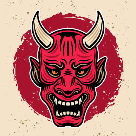 Samurai warrior horned red mask vintage vector colored illustration in retro style with grunge textures 向量圖像