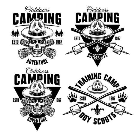 Camping set of four monochrome vector emblems, badges, labels or logos in vintage style with boy scout skull in hat, flashlights and marshmallow on sticks