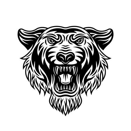 Tiger head front view vector illustration in vintage detailed monochrome style isolated on white background