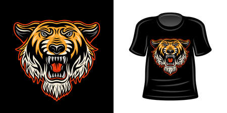 T-shirt print with orange colored tiger head vector apparel design template illustration 向量圖像