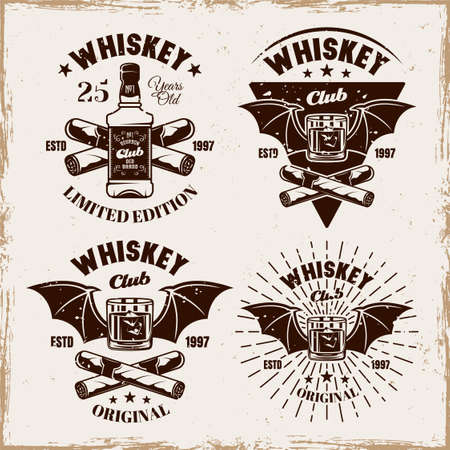 Whiskey set of four vector emblems, badges, labels or logos in vintage on background with removable grunge textures 向量圖像