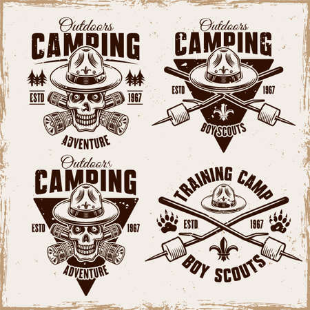 Camping set of four vector vintage emblems, badges, labels with boy scout skull in hat, flashlights and marshmallow on sticks