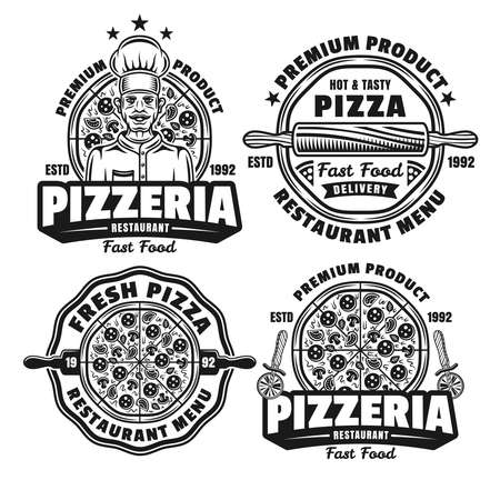 Pizza and pizzeria set of four vector emblems, badges, labels  in vintage monochrome style isolated on white background 向量圖像