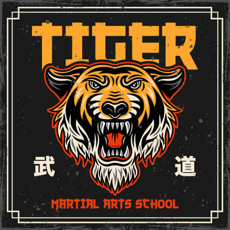 Tiger head vintage colored poster in japan style for martial arts school. Vector illustration with japan text mean modern martial arts