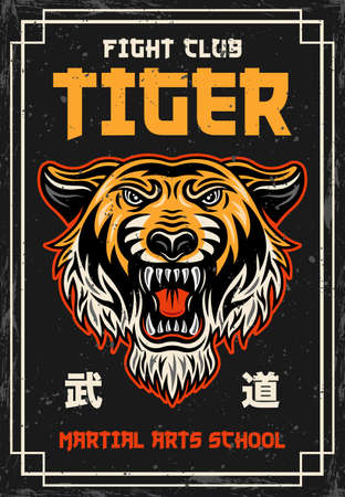 Tiger head vintage colored poster on japanese thematic for martial arts school. Vector decorative illustration with grunge textures and text on separate layers