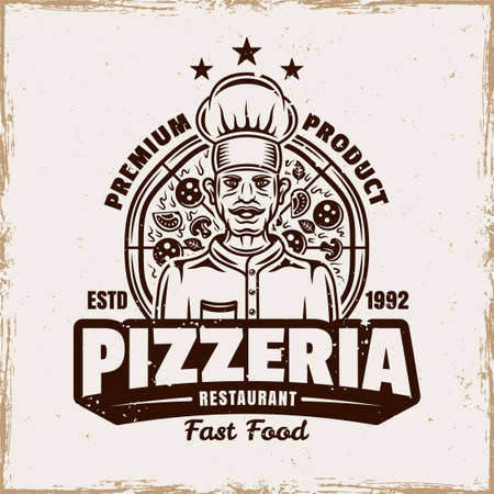 Pizza vector emblem,  badge or label with chef in vintage style isolated on background with removable grunge texture