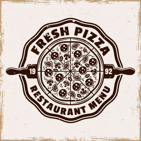 Pizzeria vector emblem,  badge or label with round pizza in vintage colored style isolated on background with grunge texture. Fast food delivery logotype template 向量圖像