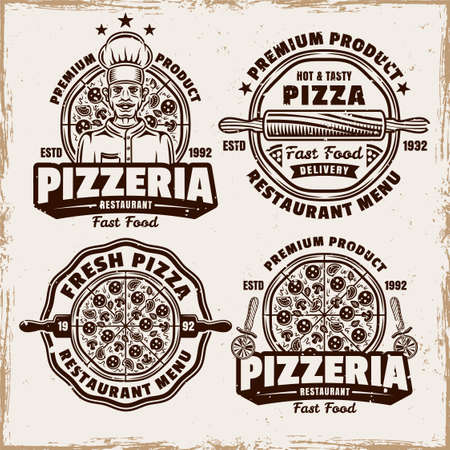 Pizza and pizzeria set of four vector emblems, badges, labels  in vintage style on background with removable grunge textures