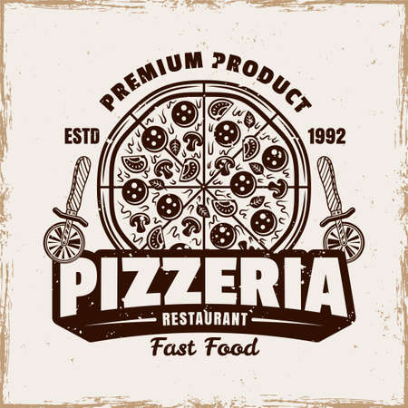 Pizza vector emblem,  badge or label with round pizza in vintage style isolated on background with removable grunge texture 向量圖像