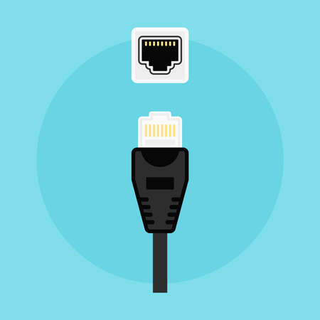 connector and network socket vector colored flat illustration