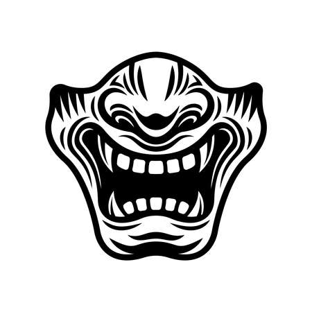 Samurai half mask vector illustration in monochrome style isolated on white