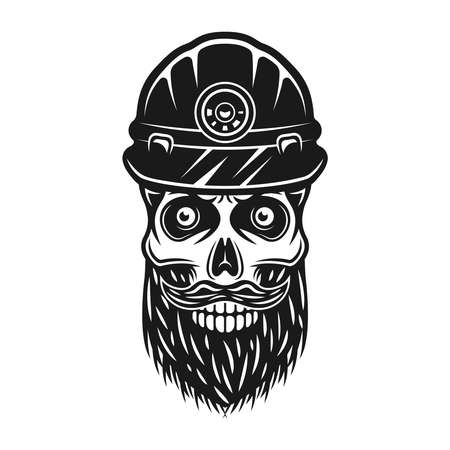 Bearded skull of dead miner in protective helmet vector illustration in vintage style isolated on white background