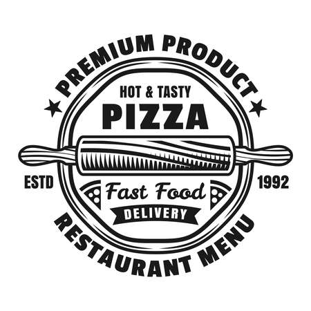 Pizzeria vector emblem, badge or label with round pizza in vintage monochrome style isolated on white background. Fast food delivery logotype template 向量圖像