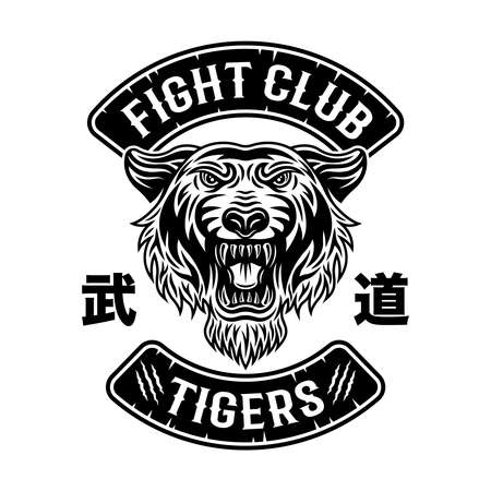 Tiger fight club, martial arts vector black emblem, badge,  patch, label in vintage style isolated on white background