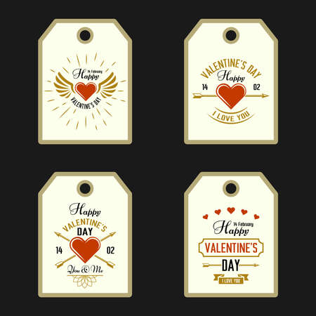 Happy Valentines Day set of four vector tags, labels holiday cards