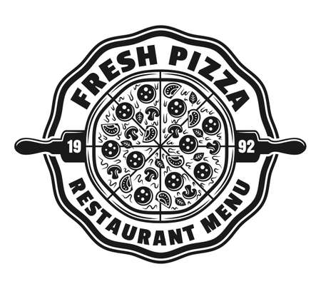 Pizzeria vector emblem,  badge or label with round pizza in vintage monochrome style isolated on white background. Fast food delivery logotype template