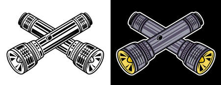 Crossed flashlights set of two vector objects in black style on white and colorful on dark background