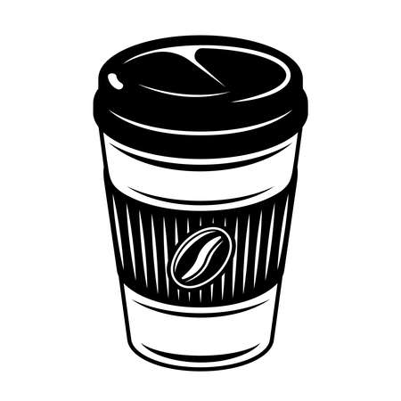 Coffee paper cup vector illustration in monochrome vintage style isolated on white background