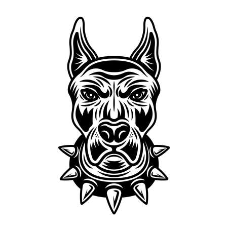 Dog head in spiked collar front view vector illustration in vintage monochrome style isolated on white background Ilustração
