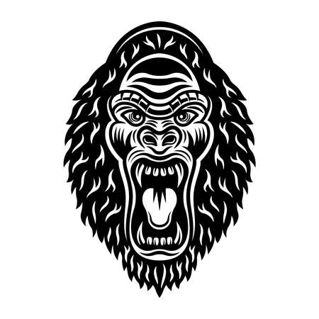 Gorilla head with open mouth vector monochrome illustration isolated on white background