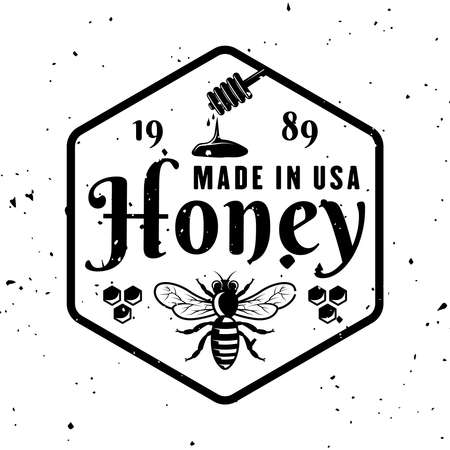 Honey and beekeeping vector emblem, badge, label or logo in monochrome style isolated on white background 向量圖像