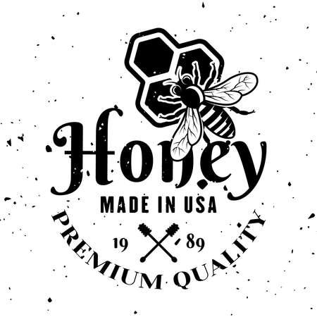 Honey premium product vector emblem, badge, label or logo in monochrome style isolated on white background 向量圖像