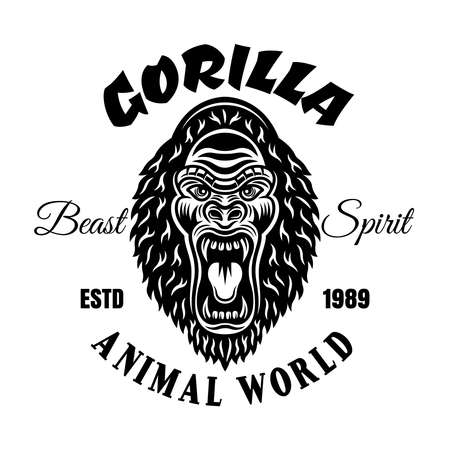 Gorilla with angry grin vector emblem or t-shirt print in vintage monochrome style isolated on white background