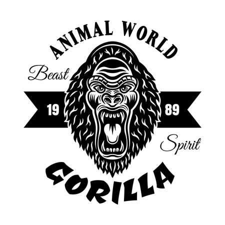 Gorilla head vector monochrome emblem, label, badge or logo isolated on white background