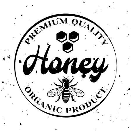 Honey organic product vector emblem, badge, label or logo in monochrome style isolated on white background