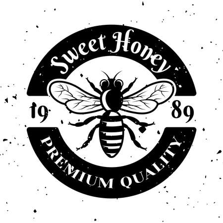 Sweet honey vector emblem, badge, label or logo in monochrome style isolated on white background