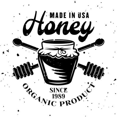 Honey pot vector emblem, badge, label or logo in monochrome style isolated on white background