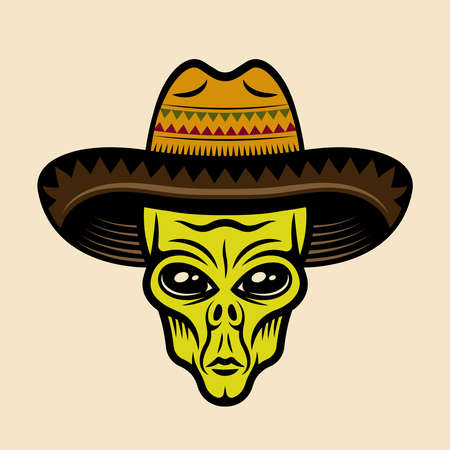 Alien head in sombrero hat vector illustration in colorful cartoon style isolated on light background